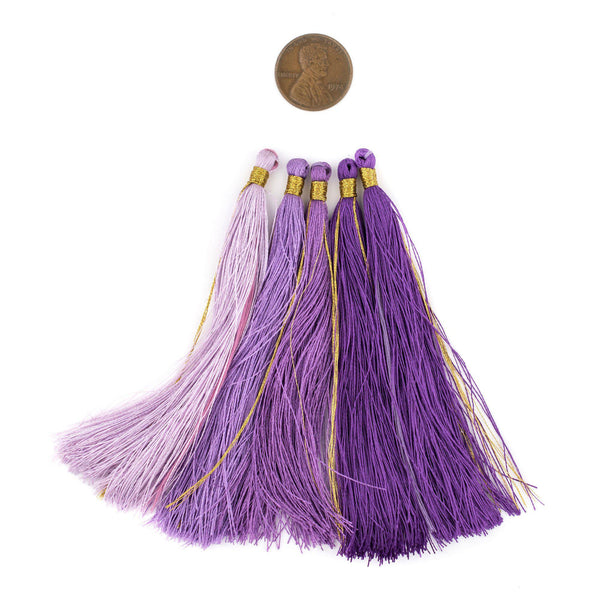 Shades of Purple: 9cm Silk Tassels (5 Pack)