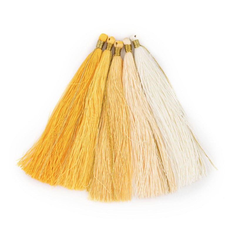 Shades of Yellow: 9cm Silk Tassels (5 Pack) - The Bead Chest