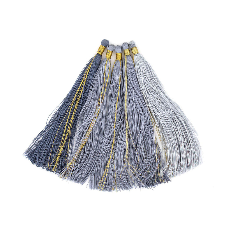 Shades of Grey: 9cm Silk Tassels (5 Pack) - The Bead Chest