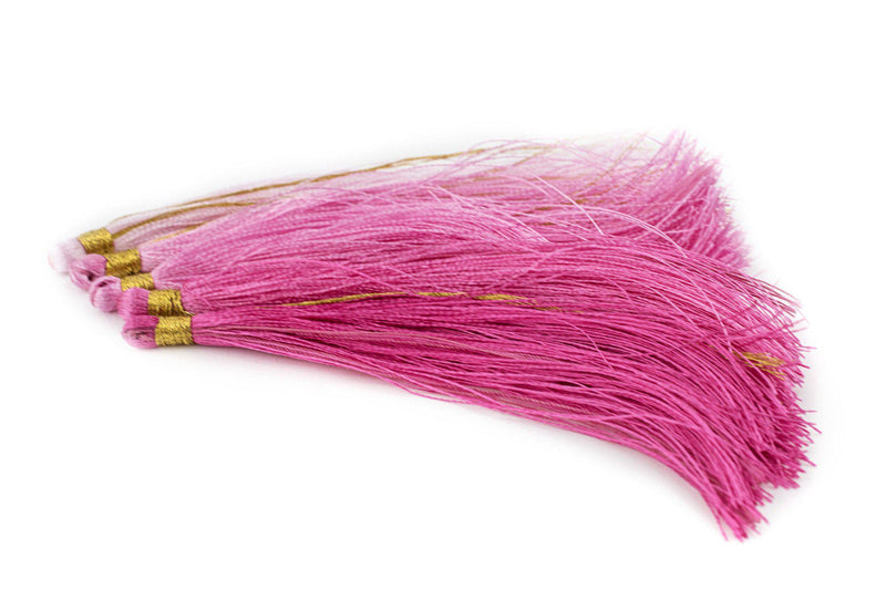 Shades of Pink: 9cm Silk Tassels (5 Pack) - The Bead Chest