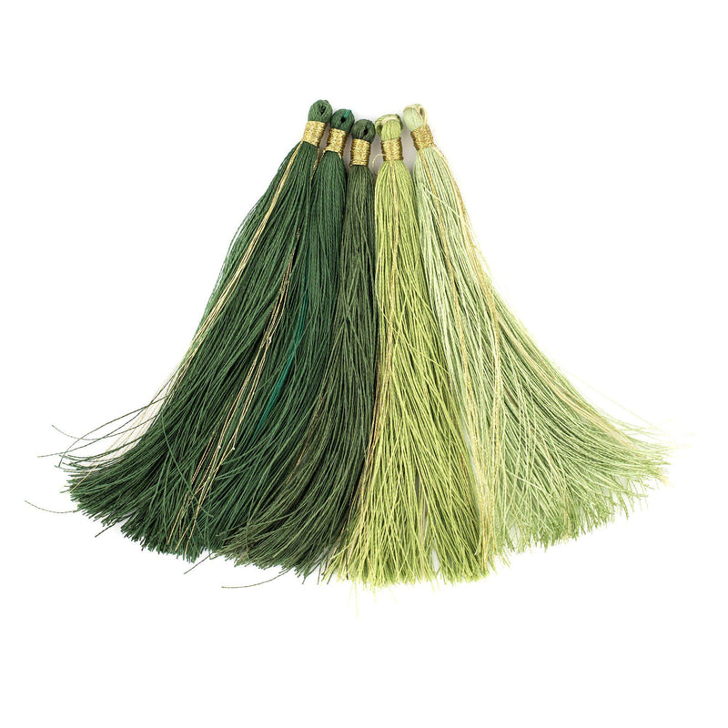 Shades of Green: 9cm Silk Tassels (5 Pack) - The Bead Chest