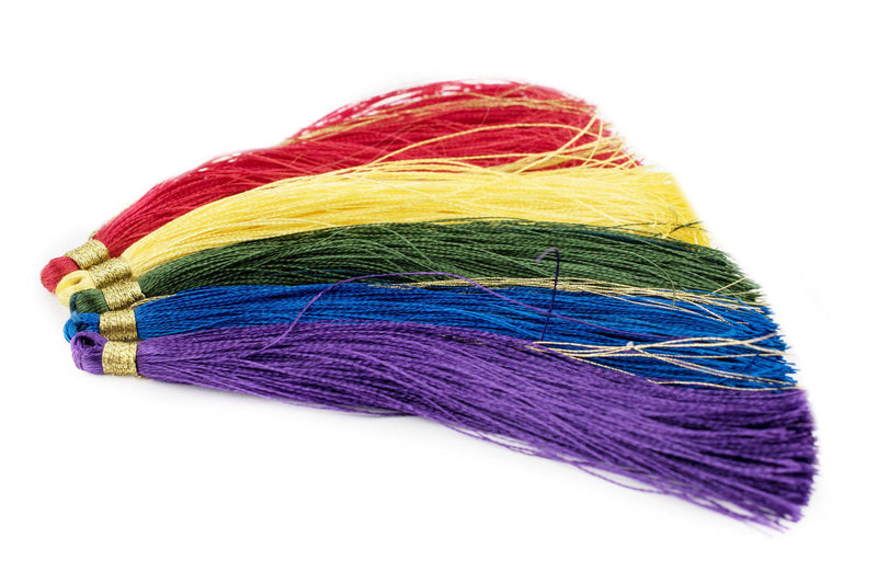 Colors of the Rainbow: 9cm Silk Tassels (5 Pack) - The Bead Chest