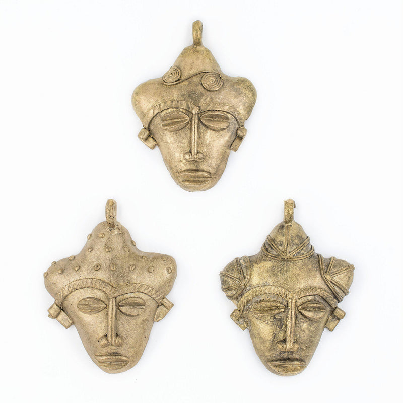 African Traditional Brass Mask Pendant (82x64mm) - The Bead Chest