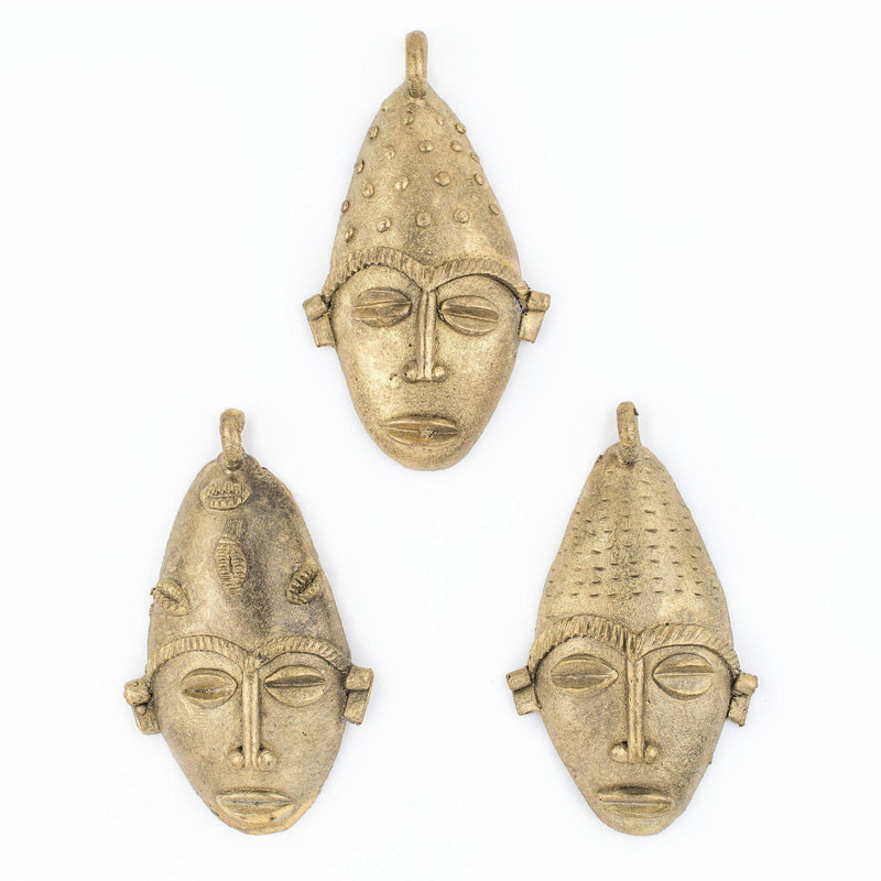 African Elongated Brass Mask Pendant (96x53mm) - The Bead Chest