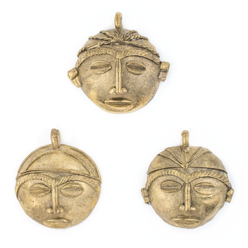 African Round Brass Mask Pendant (65x65mm) - The Bead Chest