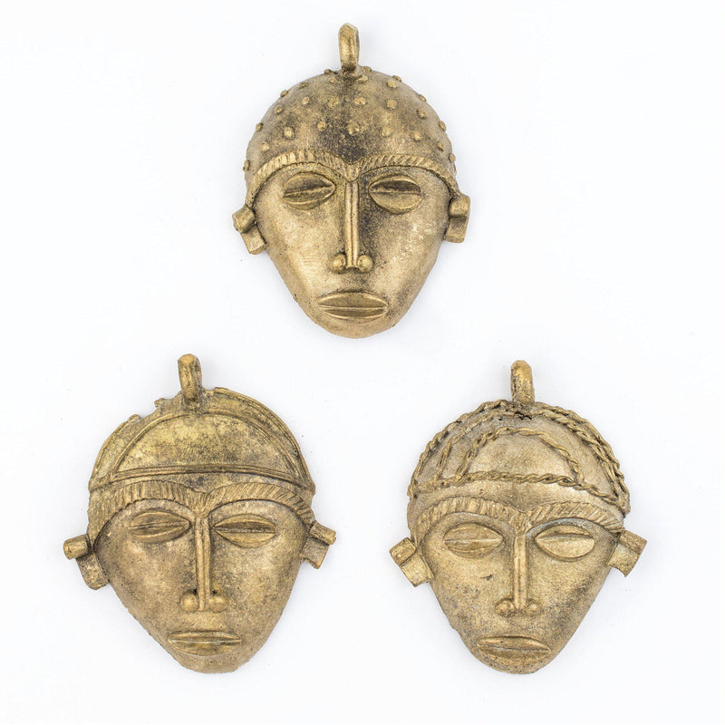 African Oblong Brass Mask Pendant (78x64mm) - The Bead Chest