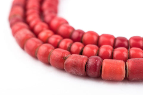 Old Red Ethiopian White Heart beads (6mm) - The Bead Chest