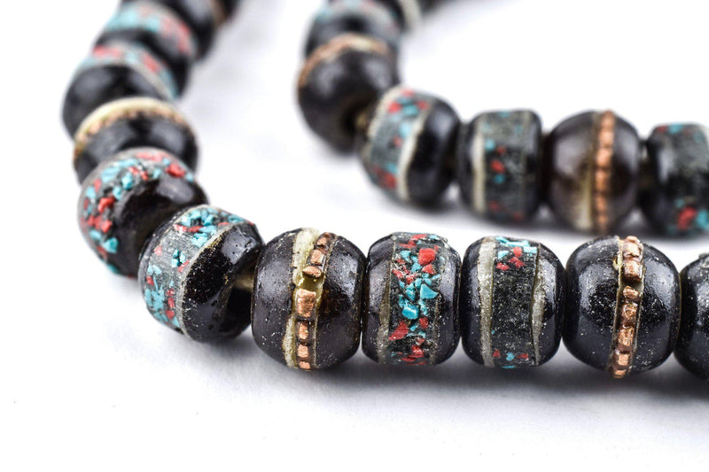 Black Speckled Inlaid Yak Bone Mala Beads (8mm) - The Bead Chest