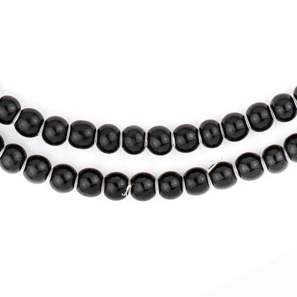 Round Black White Heart Beads (6mm) - The Bead Chest