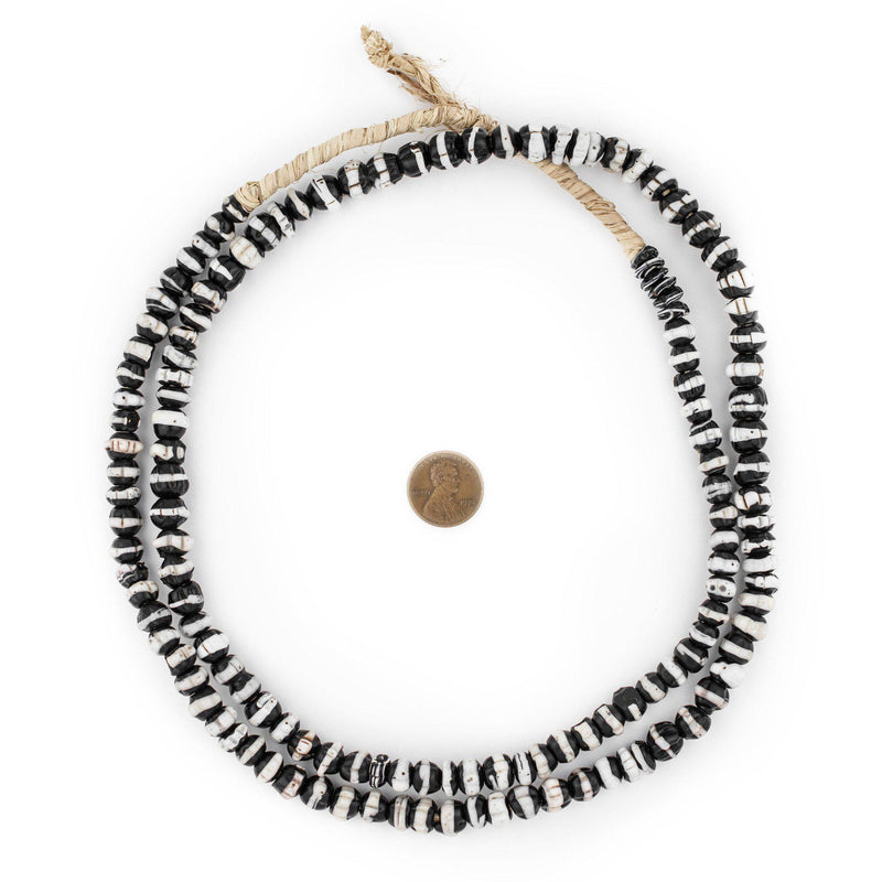 White Stripe Dogtooth Venetian Trade Beads - The Bead Chest