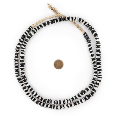 Image of White Stripe Dogtooth Venetian Trade Beads - The Bead Chest