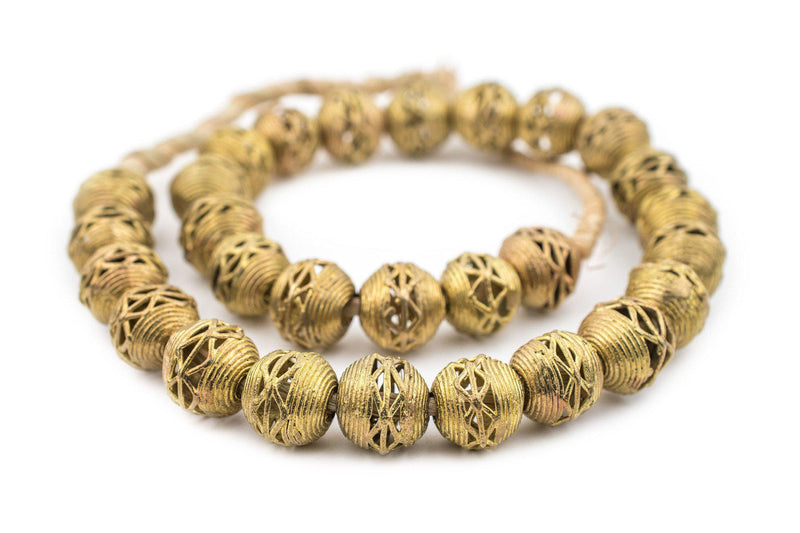 Criss Cross Brass Filigree Globe Beads (18mm) - The Bead Chest