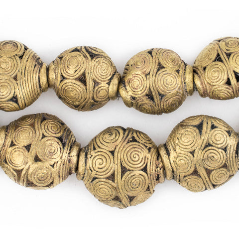 Pendant Size Extra Large Cameroon Brass Saucer Beads (36x21mm) - The Bead Chest