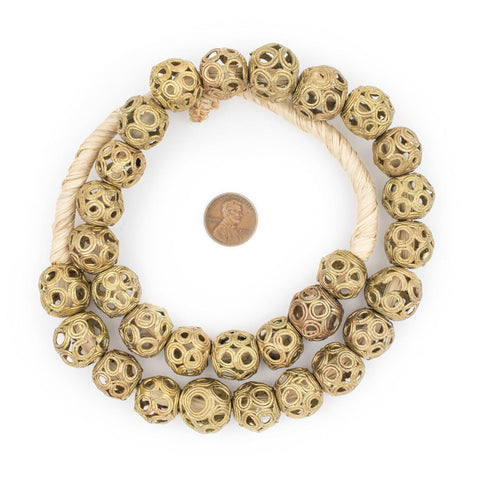 Brass Filigree Globe Beads (18mm) - The Bead Chest