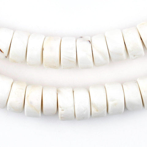 White Naga Conch Shell Disk Beads (12mm) - The Bead Chest
