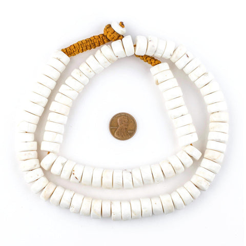 Image of White Naga Conch Shell Disk Beads (12mm) - The Bead Chest