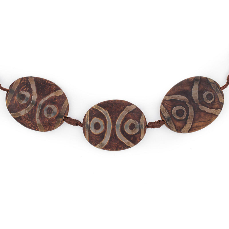 Oval-Shaped Tibetan Agate Medallion Beads (38x6mm) - The Bead Chest