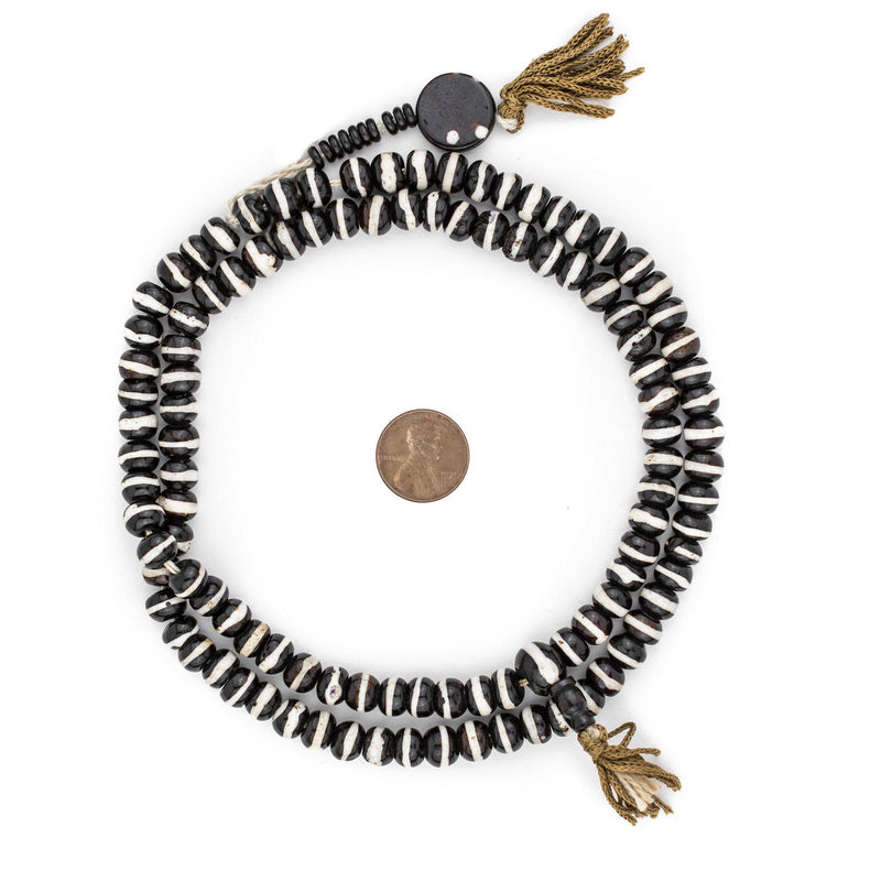 Black & White Striped Mala Bone Beads (8mm) - The Bead Chest