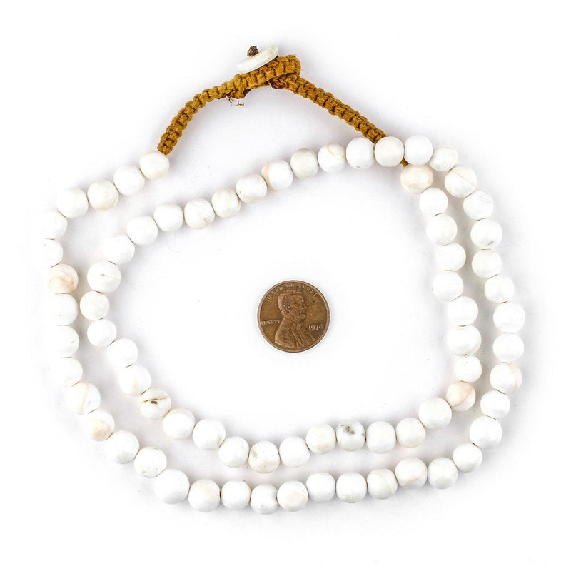 Spherical White Naga Conch Shell Beads (8mm) - The Bead Chest