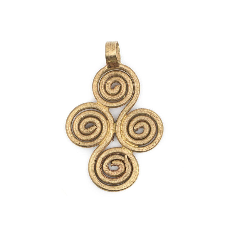 Brass Ethiopian Four Leaf Ornament Pendant (36x23mm) - The Bead Chest