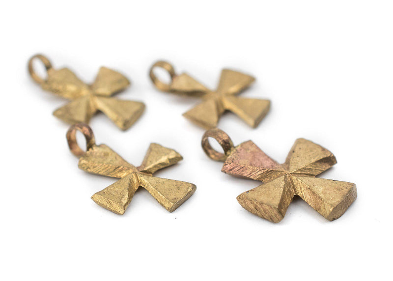 Ethiopian Brass Mini-Cross Ornaments (Set of 4) - The Bead Chest