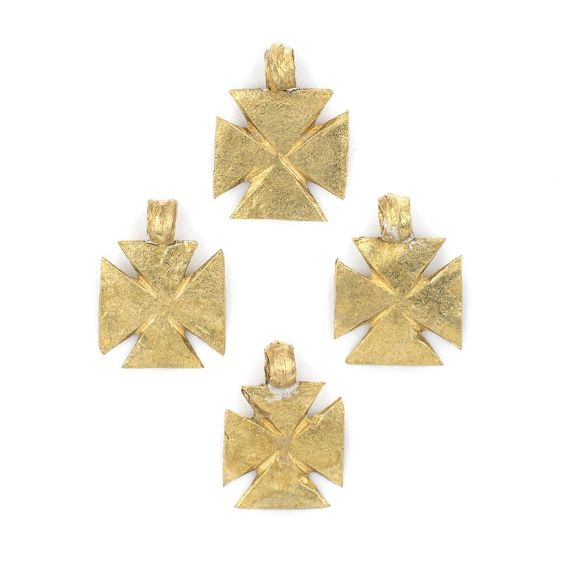 Ethiopian Brass Wide Mini-Cross Ornaments (Set of 4) - The Bead Chest