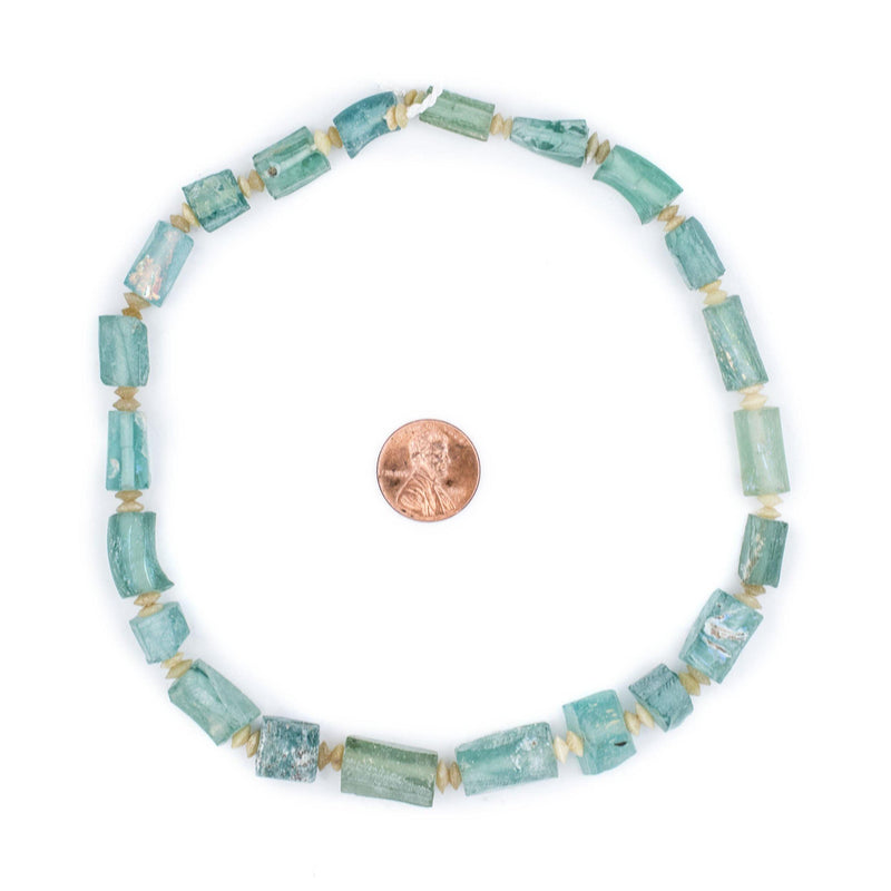 Rectangular Ancient Roman Glass Beads (Aqua) - The Bead Chest