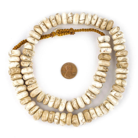 Image of Vintage Naga Conch Shell Rondelle Beads (14mm) - The Bead Chest