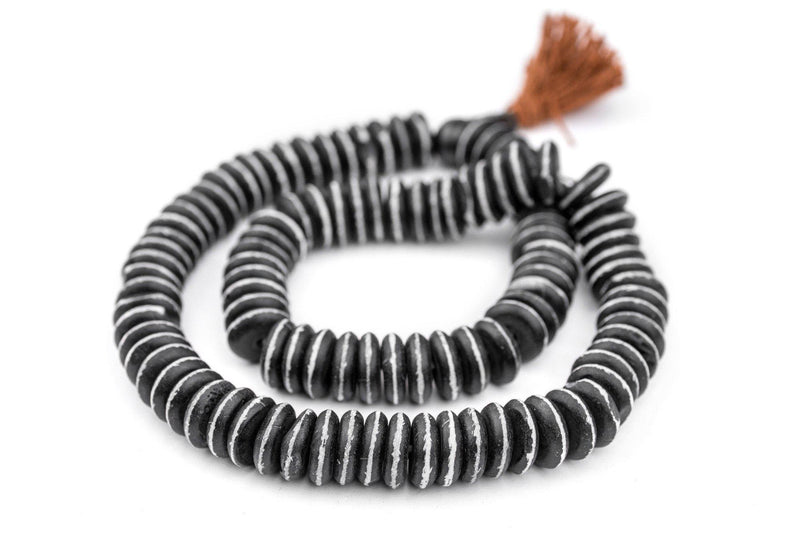 Black Striped Disk Bone Mala Beads (4x14mm) - The Bead Chest