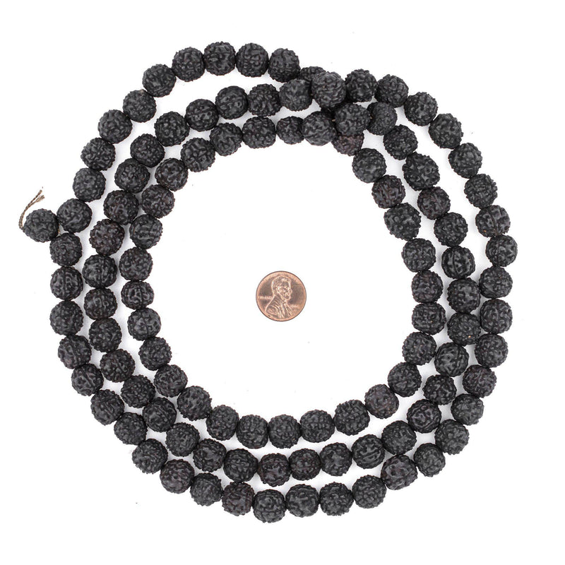 Black Rudraksha Mala Prayer Beads (12mm) - The Bead Chest