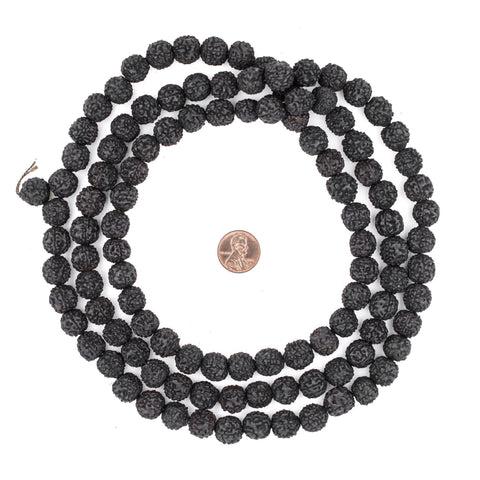 Image of Black Rudraksha Mala Prayer Beads (12mm) - The Bead Chest