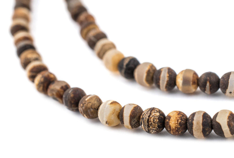 Matte Round Striped Tibetan Agate Beads (4mm) - The Bead Chest