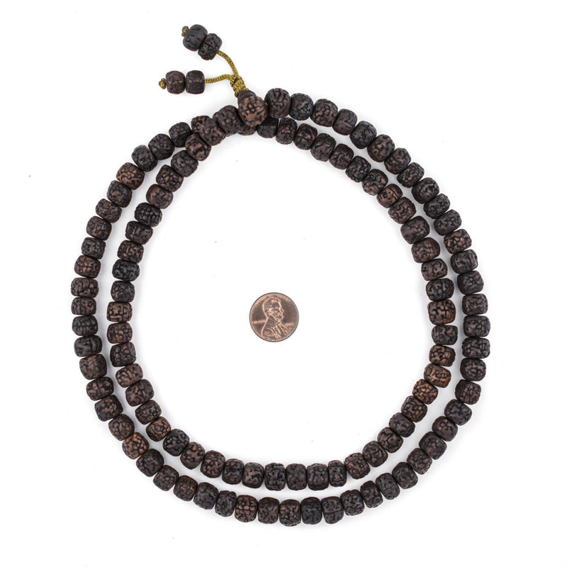 Smooth Black Rudraksha Mala Prayer Beads (10mm) - The Bead Chest