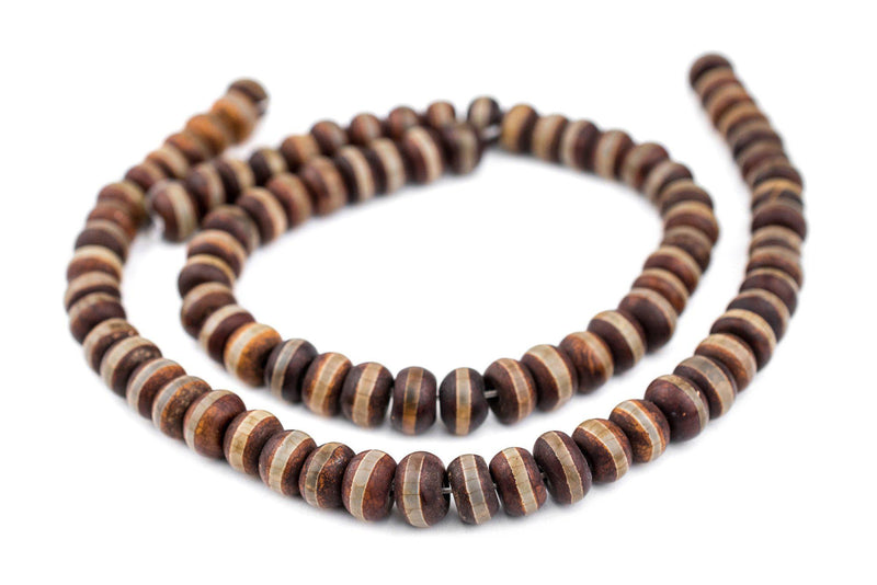 Premium Rondelle Striped Tibetan Agate Beads (8x12mm) - The Bead Chest
