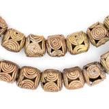 Cameroon Style Brass Filigree Cylinder Beads (10mm)