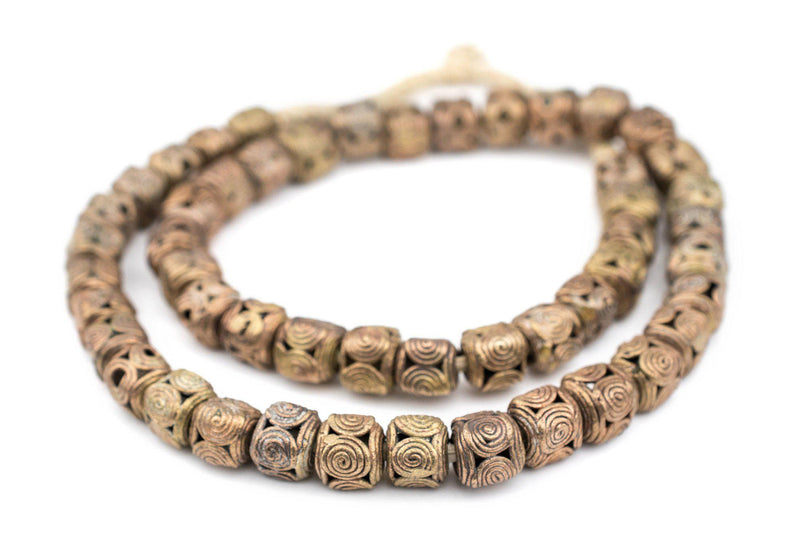 Cameroon Style Brass Filigree Cylinder Beads (10mm) - The Bead Chest