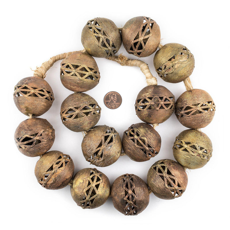 Super Jumbo Ghana Brass Filigree Beads (40mm) - The Bead Chest