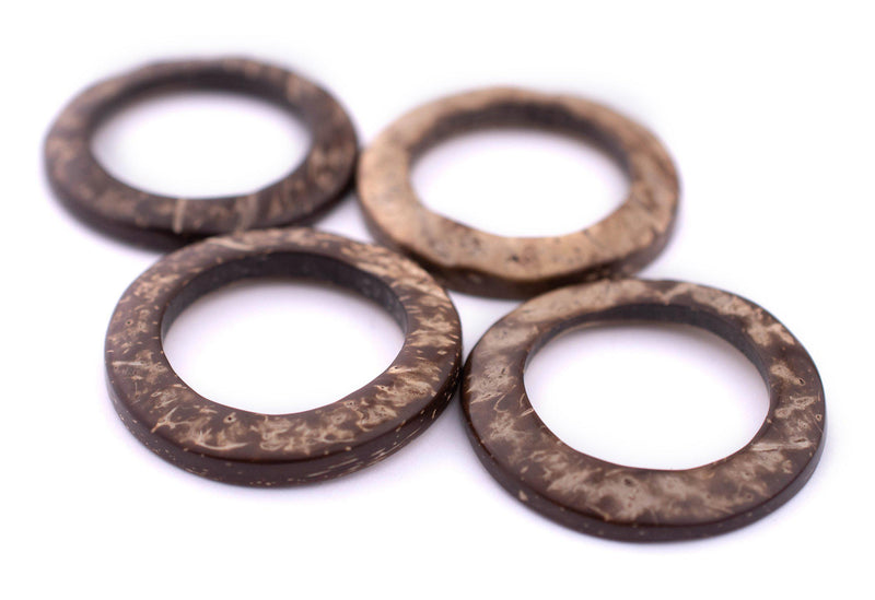 Natural Coconut Shell Ring Pendants (35mm, Set of 20)