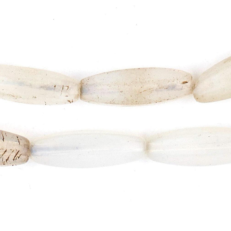 Vintage White Semi-Translucent Czech Glass Beads (24x7mm) - The Bead Chest