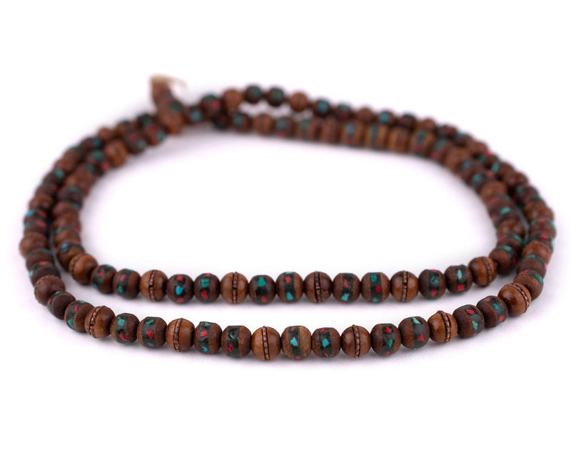 Dark Inlaid Sandalwood Mala Beads (8mm) - The Bead Chest