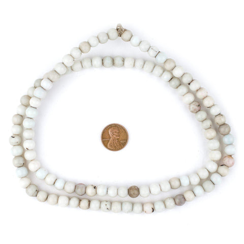 Vintage White Round Padre Beads (8mm) - The Bead Chest