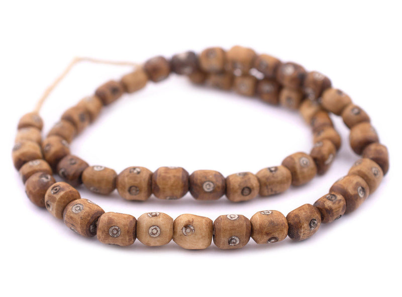 Carved Eye Kenya Brown Bone Beads (Small)