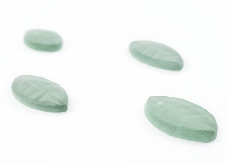 Light Green Sea Glass Leaf Pendants (Set of 4) - The Bead Chest