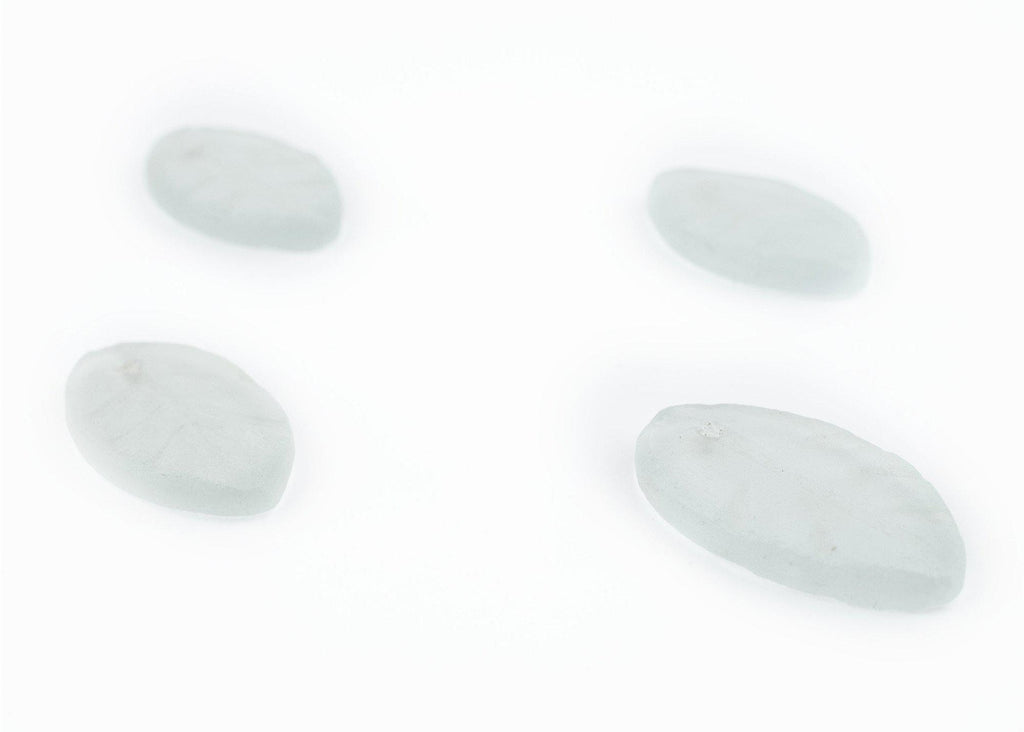 Clear Sea Glass Leaf Pendants (Set of 4) - The Bead Chest