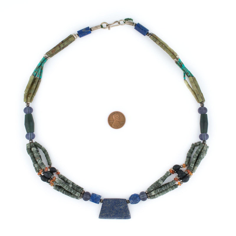 Natural Afghani Stone Lapis Trapezoid Necklace - The Bead Chest