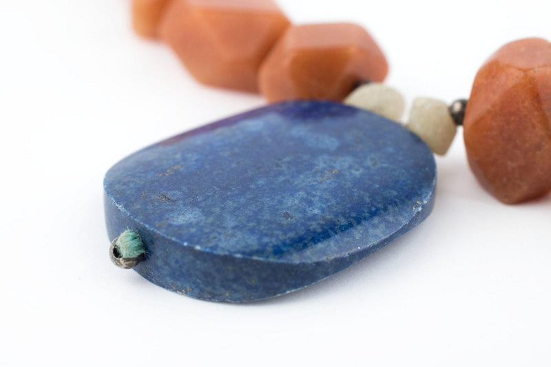 Natural Afghani Stone Carnelian & Lapis Oval Necklace - The Bead Chest