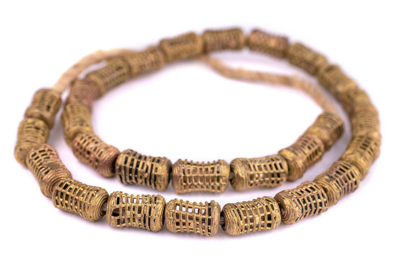 Caged Barrel Ghana Brass Filigree Beads (20x13mm)
