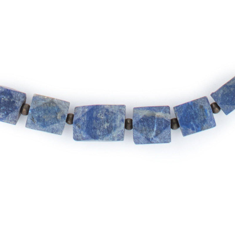 Natural Afghani Stone Lapis Cube Necklace - The Bead Chest