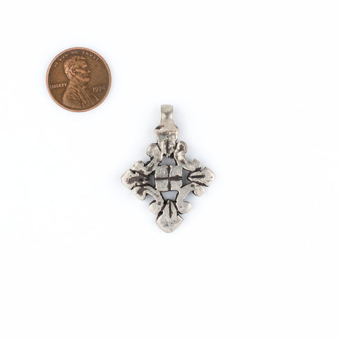 Image of Silver Ethiopian Coptic Cross Pendant (Small) - The Bead Chest