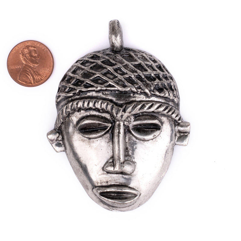 African Silver Mask Pendant (75x55mm)